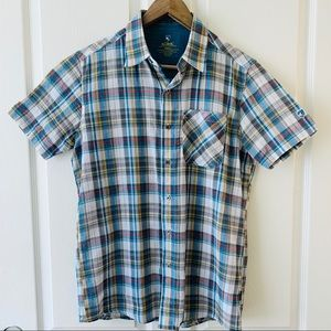 Kuhl men's short sleeve button down plaid shirt S